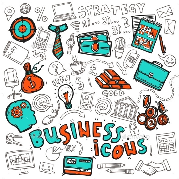 Business Icons Doodle Sketch - Concepts Business