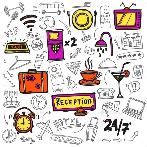 Hotel Service Icons Doodle  - Business Conceptual