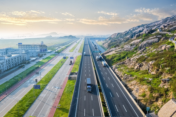 highway in early morning - Stock Photo - Images