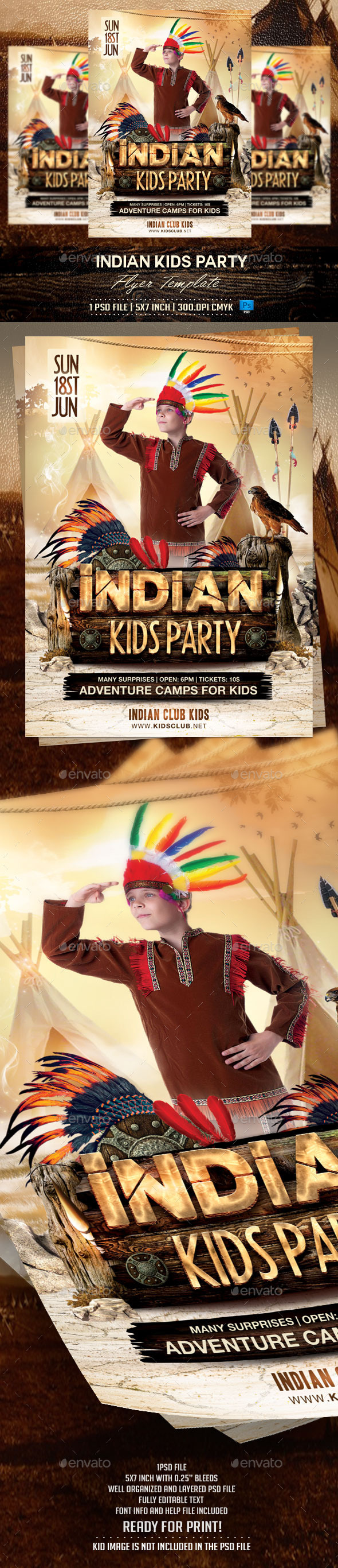 Indian Kids Party Flyer Template - Flyers Print Templates