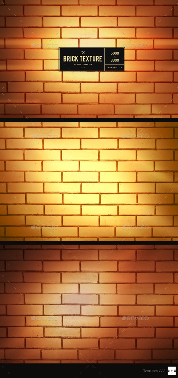 3 Golden Brick Walls - Metal Textures