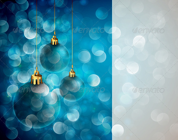 Christmas Greeting with Shiny Globes and Lights - Christmas Seasons/Holidays