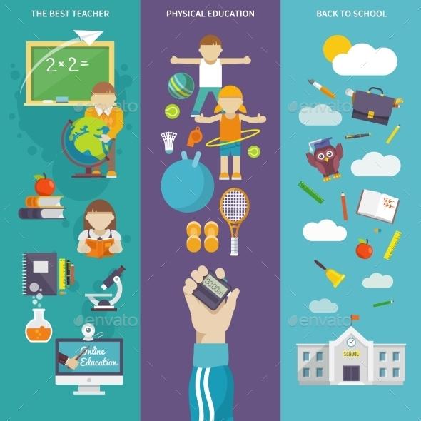 School Teacher Banners - Conceptual Vectors