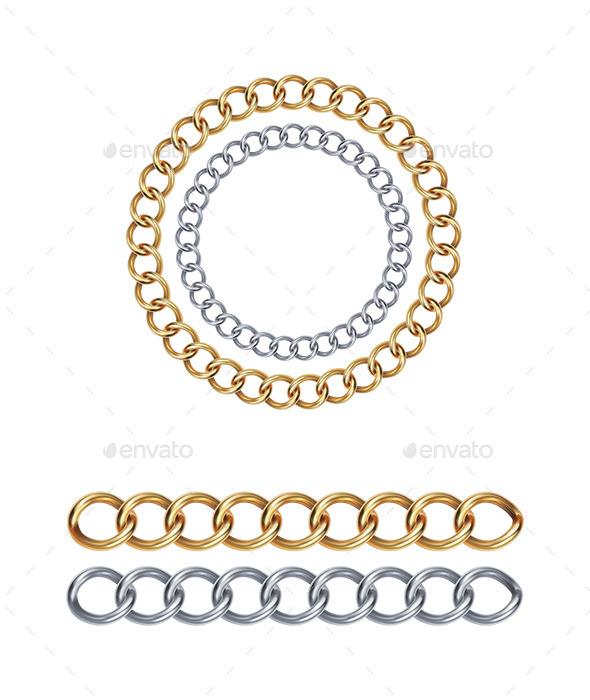 Silver and Gold Chain - Decorative Symbols Decorative