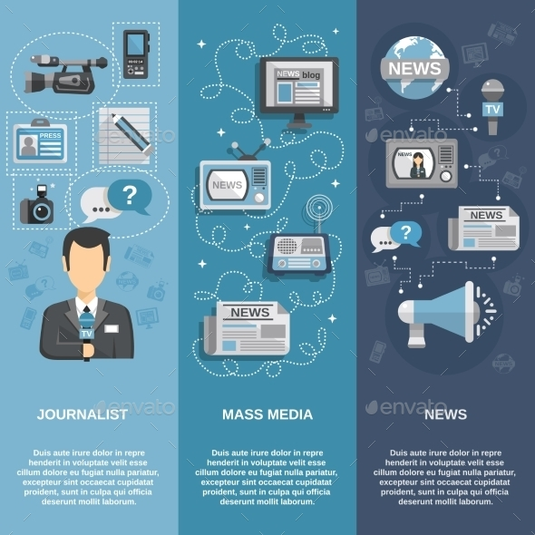 Journalist Banner Set - Technology Conceptual
