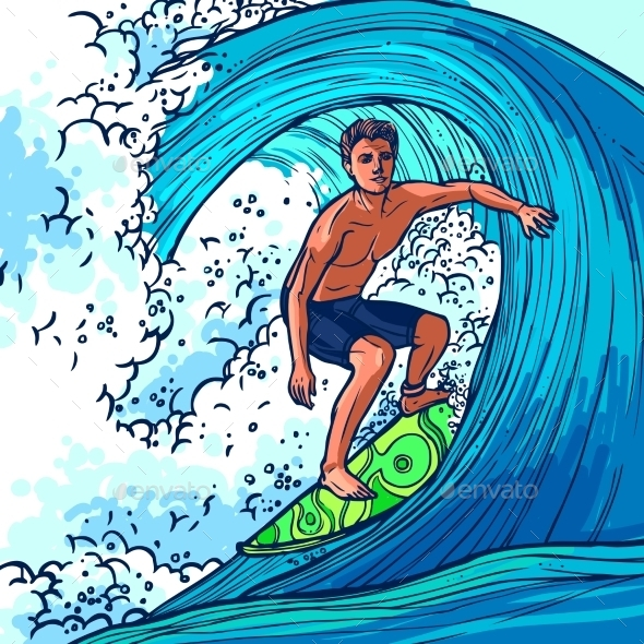 Surfer Man Background - Sports/Activity Conceptual