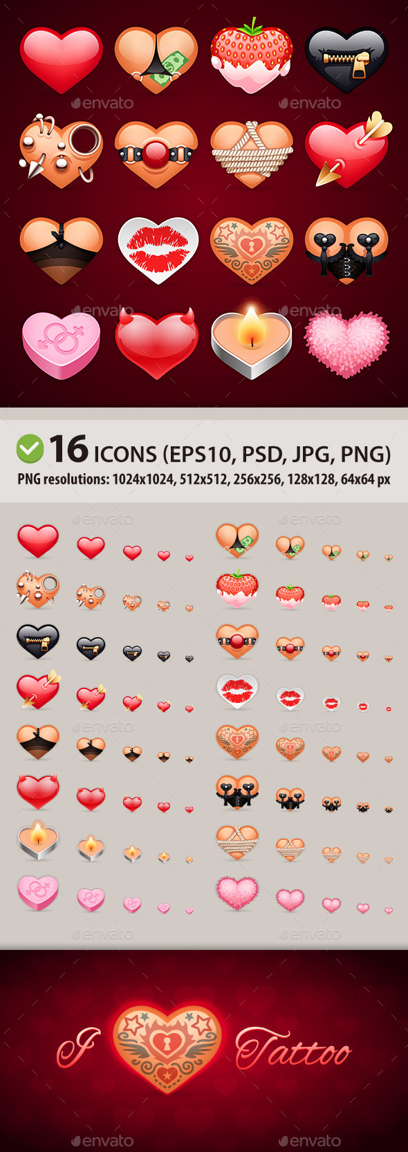 Set of Erotic Heart Icons - Valentines Seasons/Holidays
