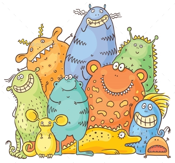 Group of Cartoon Colorful Monsters - Monsters Characters