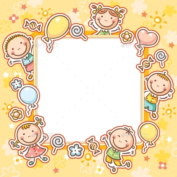 Kids Frame with Sweets and Balloons - Borders Decorative