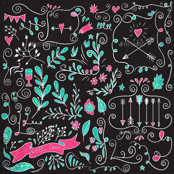 Calligraphic Design Elements.  - Decorative Symbols Decorative