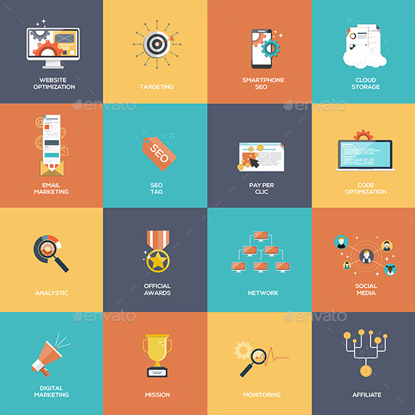 Set of SEO and Marketing Icons - Media Icons