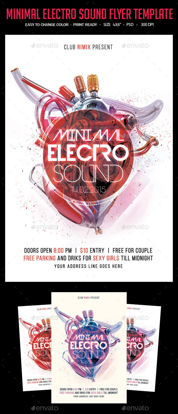 Minimal Electro Sound Flyer - Clubs & Parties Events