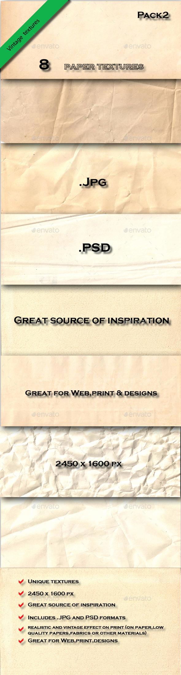 8 Vintage Paper Textures Pack2 - Paper Textures