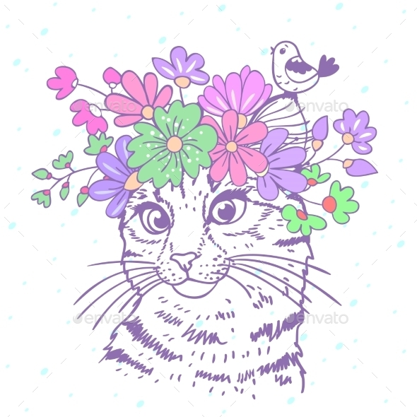 Cat with Wreath - Animals Characters