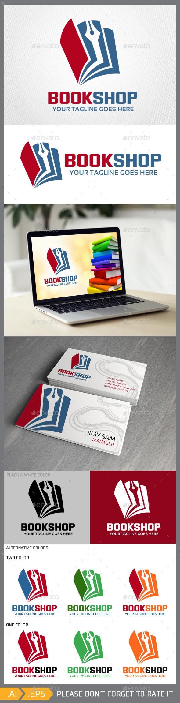 Bookshop logo template - Symbols Logo Templates