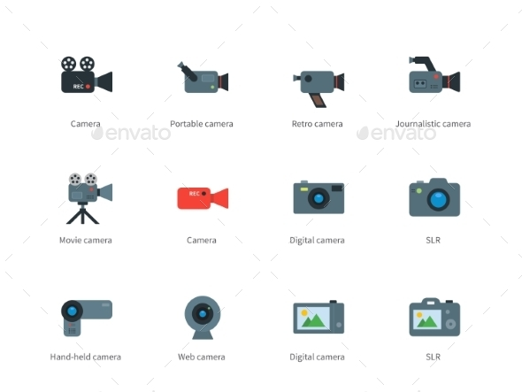 Camera Color Icons on White Background - Technology Icons