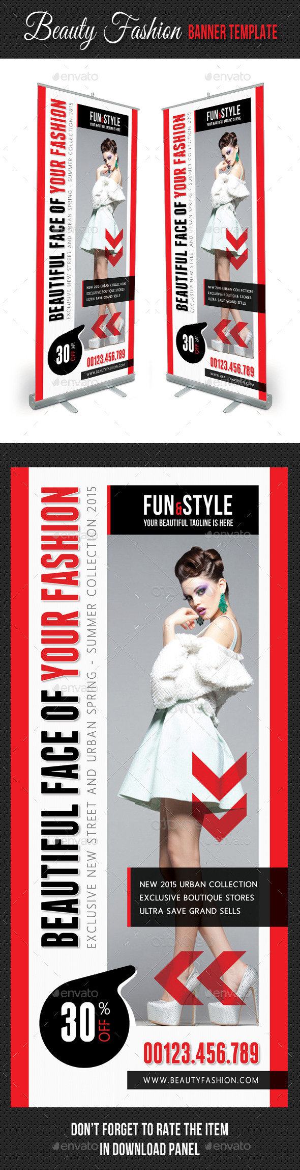 Beauty Fashion Banner Template V01 - Signage Print Templates