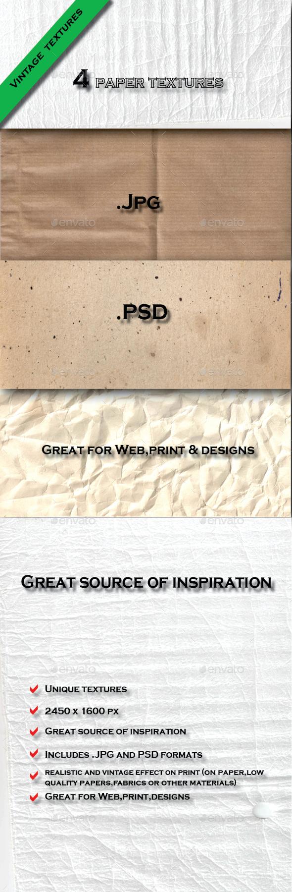4 Vintage Paper Textures Pack - Paper Textures