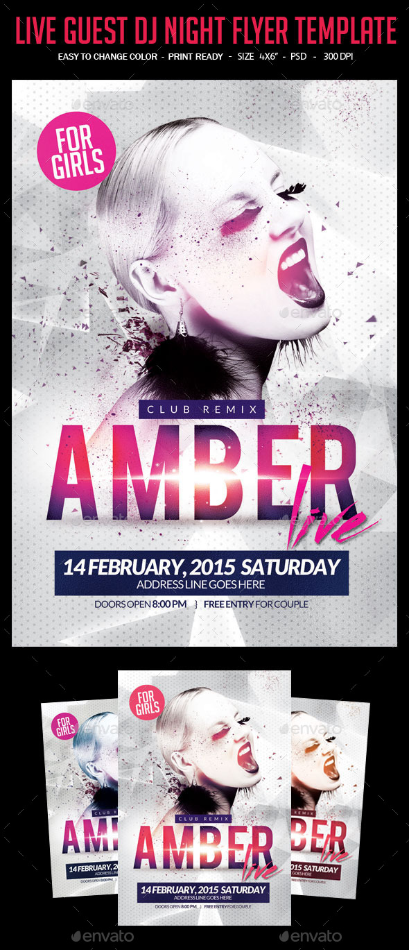Live Guest Dj Night Flyer Template - Clubs & Parties Events