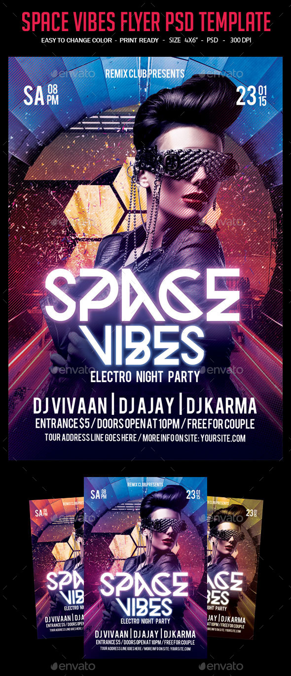 Space Vibes Flyer PSD Template - Clubs & Parties Events