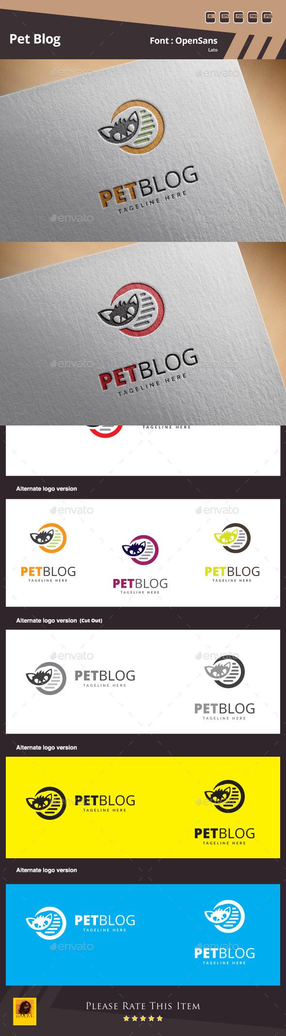 Pet Blog Logo Template - Animals Logo Templates