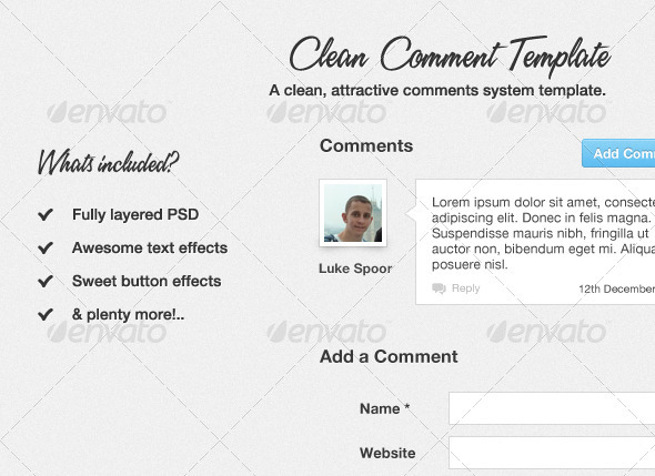 Clean Comment Template - Forms Web Elements