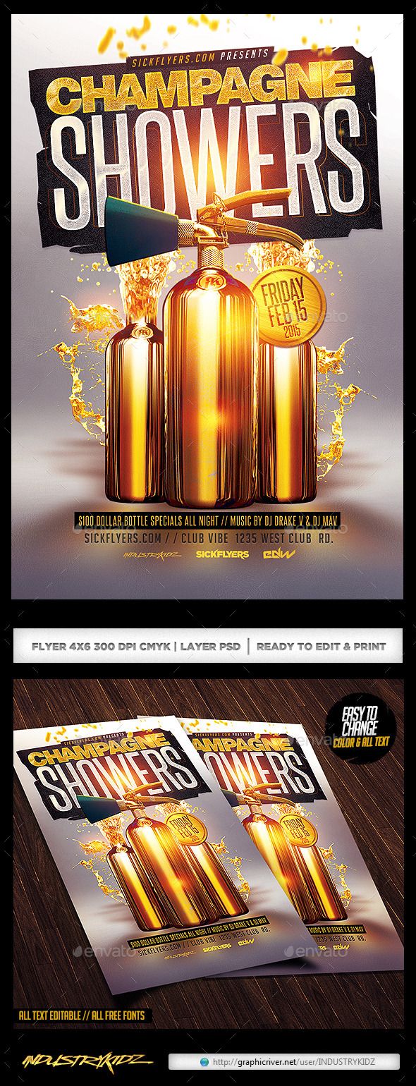 Champagne Showers Flyer  - Clubs & Parties Events