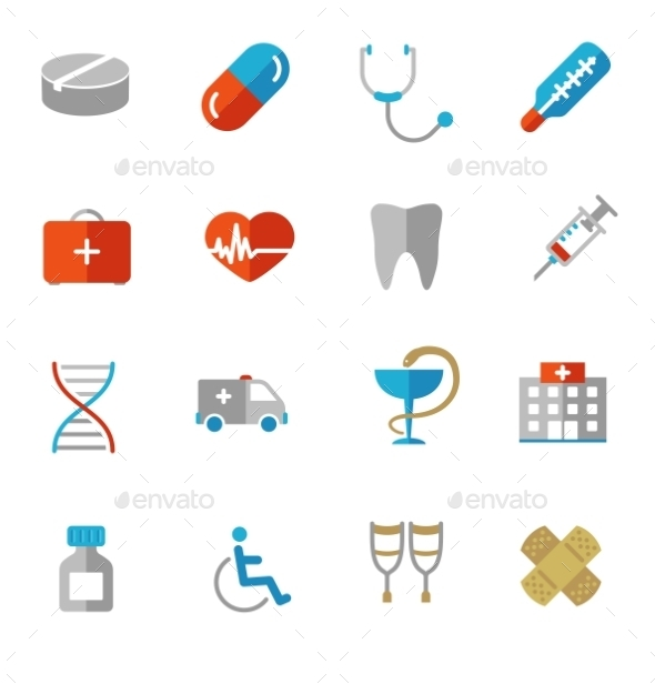 Set of Colorful Medical Icons in Flat Colors - Objects Icons
