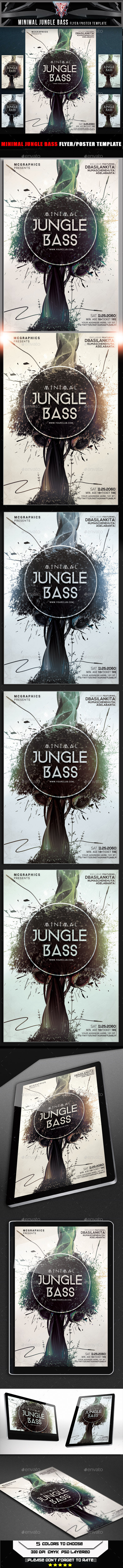 Minimal Jungle Bass Flyer Template - Flyers Print Templates