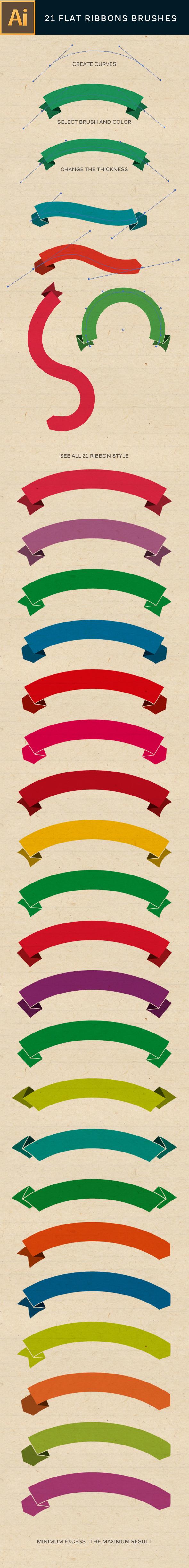 21 Flat Ribbons Brushes Set - Brushes Illustrator