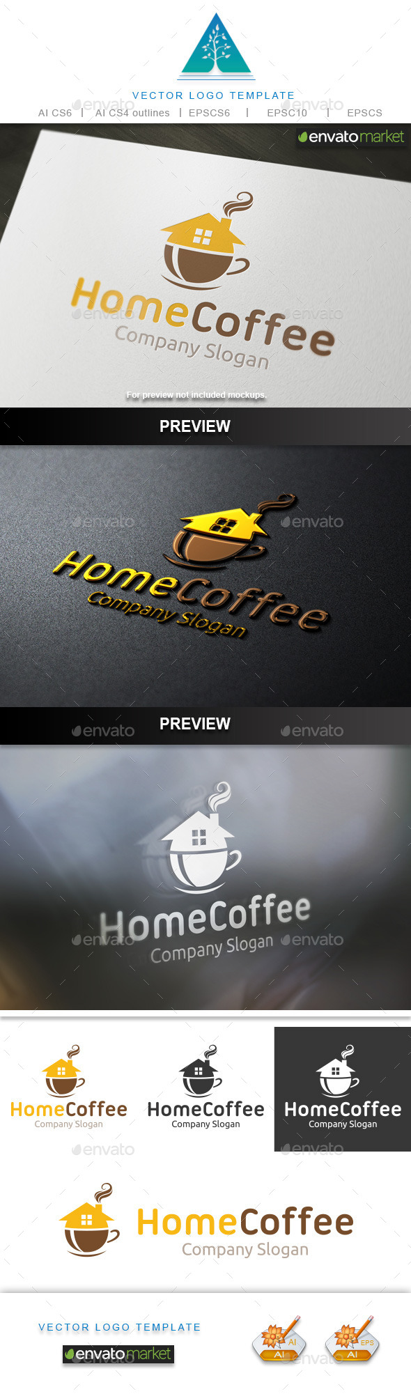 Home Coffee Logo - Food Logo Templates