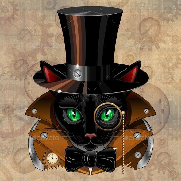 Steampunk Black Cat Portrait  - Animals Characters