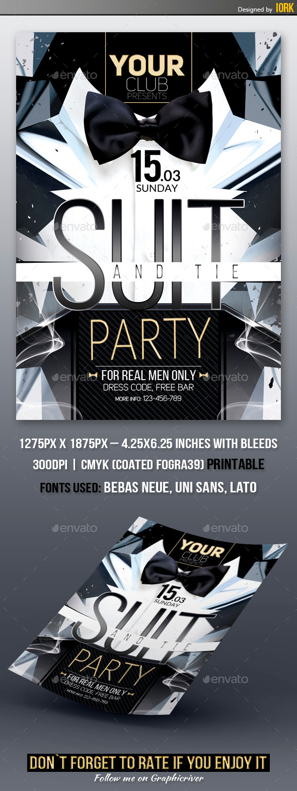 Suit and Tie Party Flyer - Clubs & Parties Events