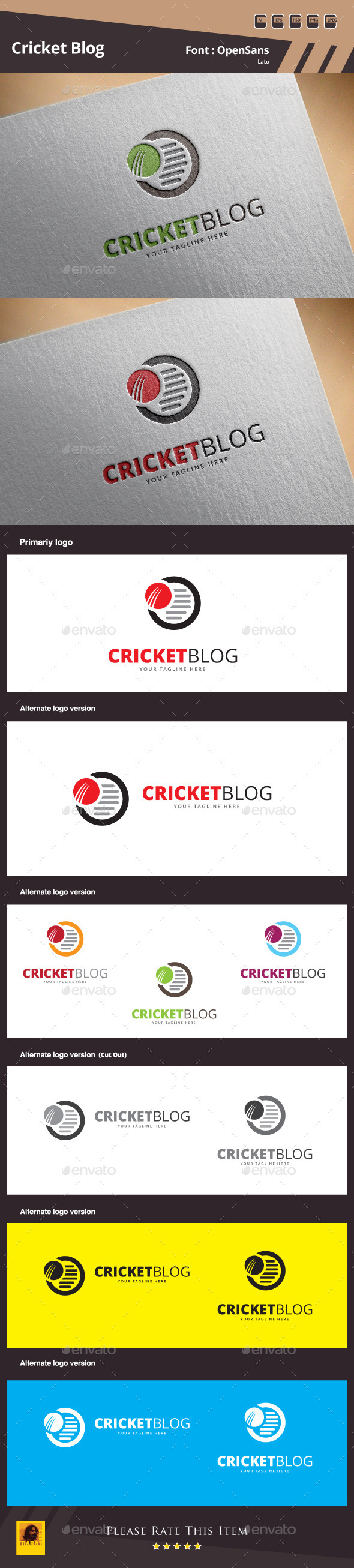 Cricket Blog Logo Template - Symbols Logo Templates