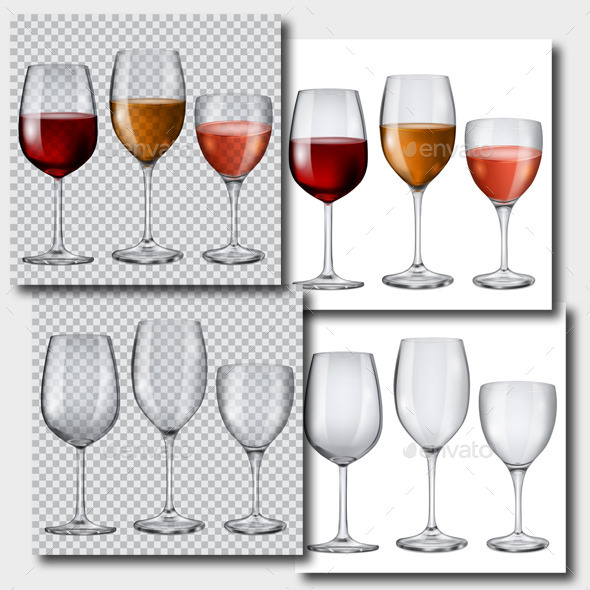 Transparent Glasses with Wine and Without - Miscellaneous Vectors