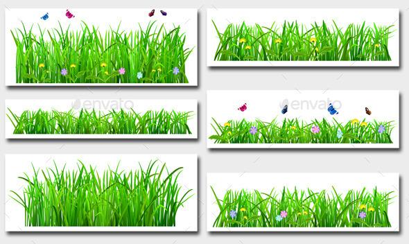 Set of Green Grass - Flowers & Plants Nature