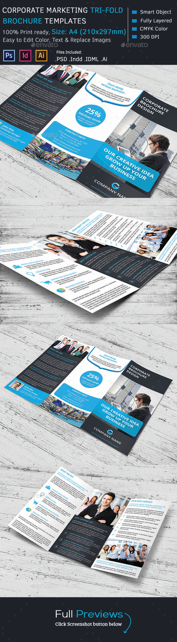 Corporate Marketing Tri-Fold Brochure - Corporate Brochures