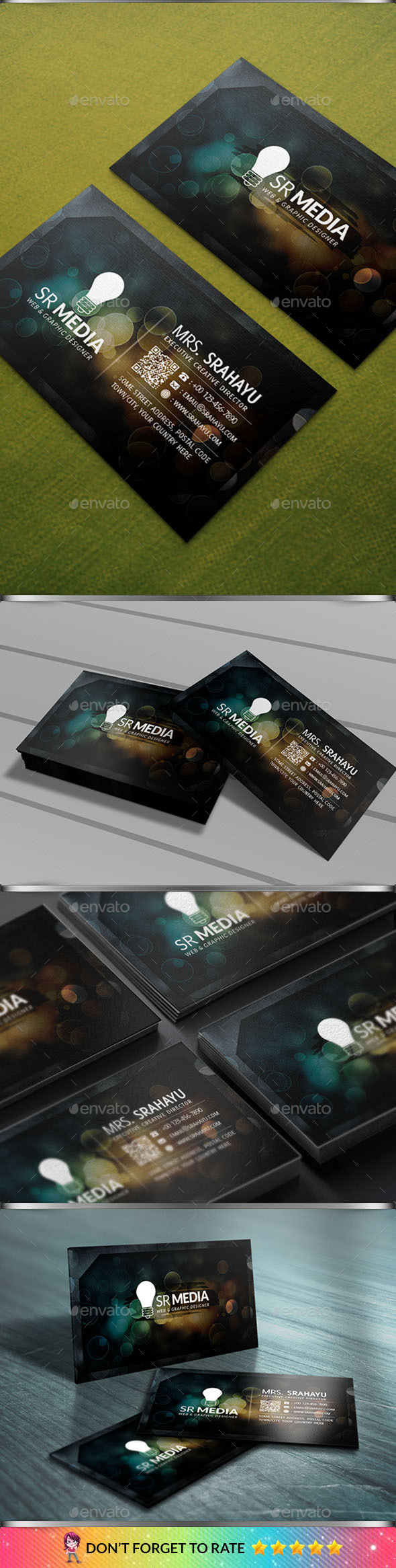 Blur Bokeh Business Card - Creative Business Cards