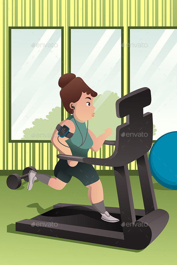 Overweight Person Running on a Treadmill - Sports/Activity Conceptual