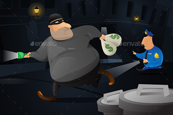 Policeman Catching a Robber in a Dark Alley - People Characters