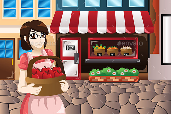 Female Store Owner Standing in Front of Her Store  - Commercial / Shopping Conceptual