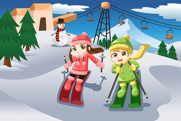 Kids Skiing - Sports/Activity Conceptual