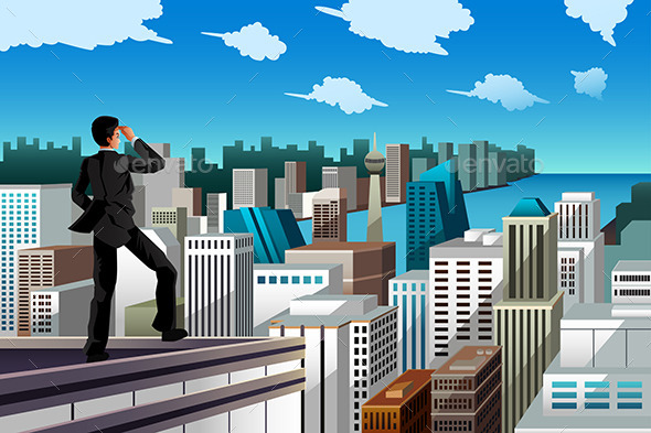 Businessman Standing on a Rooftop - Concepts Business