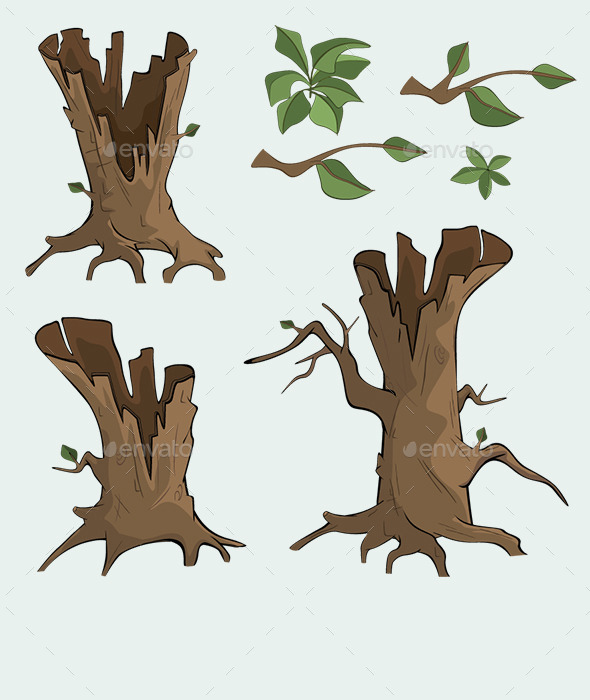 Set of Dry Trees Cartoon  - Organic Objects Objects