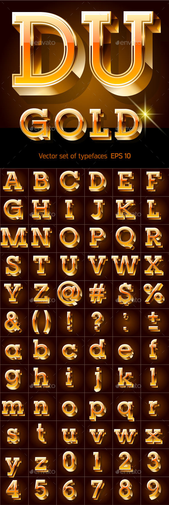 Illustration of Golden 3D Alphabet - Decorative Symbols Decorative