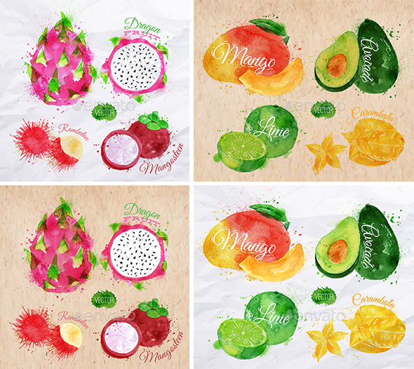 Exotic Fruits Watercolor - Food Objects