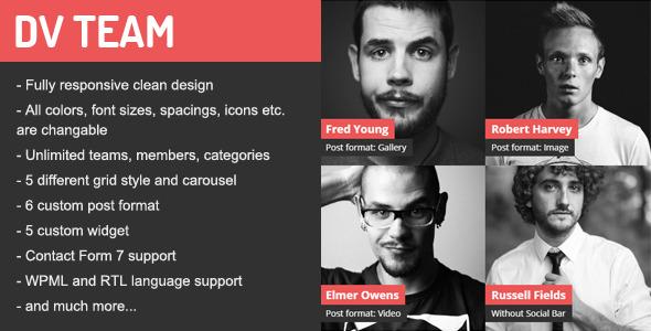 DV Team Responsive Team Showcase Wordpress Plugin - CodeCanyon Item for Sale