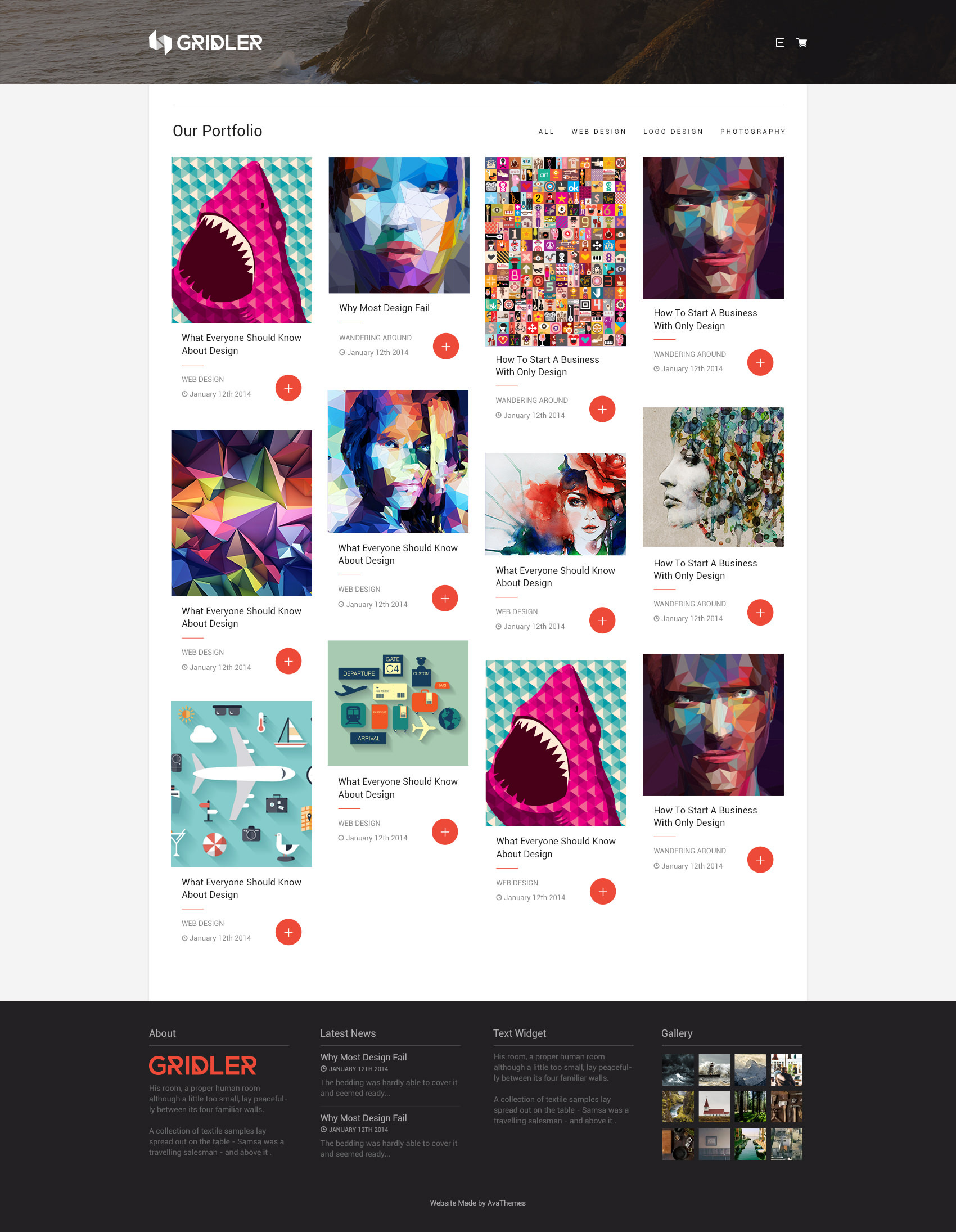 the theme of masonry in a Designed for everyone who wants to display posts like awesome grid you have multiple post types, big header and many icons for social media profiles, which you can display on many places in site.
