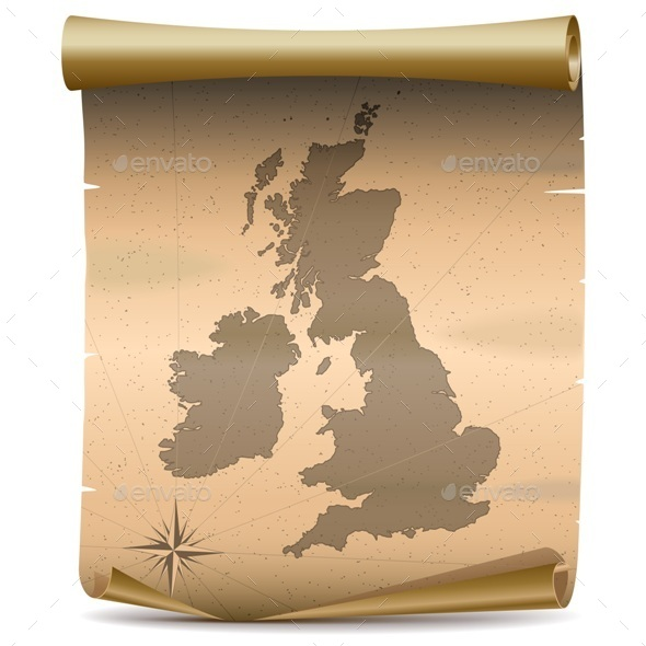 Vector United Kingdom Vintage Map - Travel Conceptual