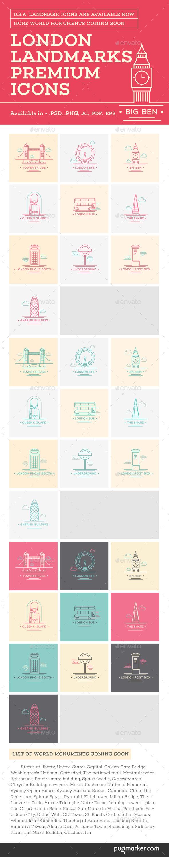 World Landmark Icons - Vol. 3 (London) - Man-made objects Objects
